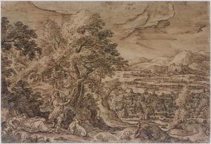 Weids landschap met Cephalus treurend bij de dode Procris (Metamorfosen 7:795-866)