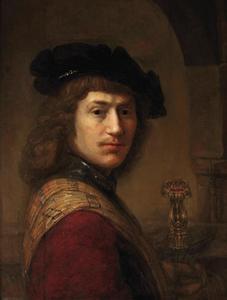 Portret van een man met een zwaard  in de linkerhand
