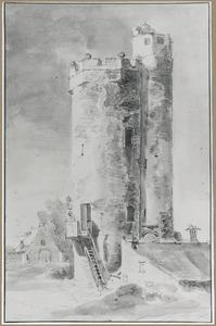 Gezicht op de Bijlhouwerstoren met links de loods van het bastion Sterrenburg te Utrecht