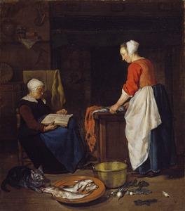 Dienstmeid die vis schoonmaakt en een slapende oude vrouw