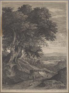 Heuvellandschap met twee wandelaars, bomen en een rivier