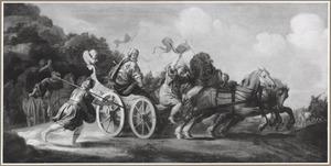De dodelijke verwonde  koning  Achab verlaat het krijgstoneel  (I Koningen 22:34)