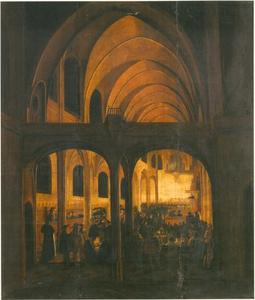 Interieur van een protestantse kerk tijdens een dienst