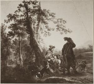 Landschap met twee rustende jagers