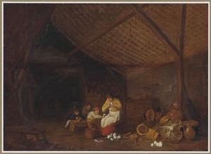 Boereninterieur met een vrouw en kinderen die knollen schillen