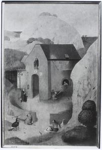 De H. Antonius, lezend voor een kapel ( op de achterzijde: de tovenaar Hermogenes en de duivels; in de achtergrond de H. Jacobus de Meerdere)