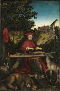 Kardinaal Albrecht als de Heilige Hieronymus