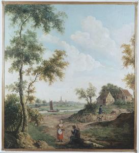 Rivierlandschap met marskramer, boerin en jager; in het verschiet een kerkgebouw