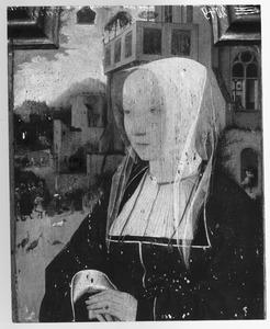 Portret van een vrouw. In de achtergrond: de Tiburtijnse Sibille voorspelt de komst van Christus aan Keizer Augustus