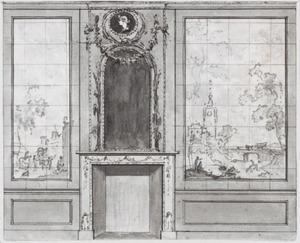 Wand met twee behangselvlakken ter weerszijden van een schoorsteen