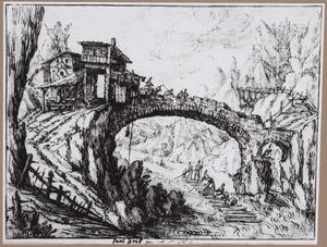 Berglandschap met stenen brug, vlot op rivier en herberg met terras