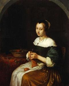 Breiende jonge vrouw