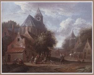 Dorpsgezicht met rokende boeren voor een kerkgebouw