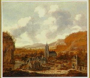 Berglandschap met dorp aan een rivier