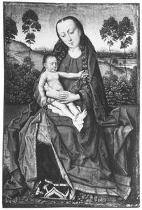 Maria met kind zittend ten voeten uit voor een landschap