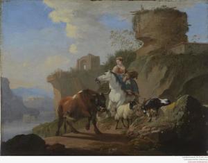 De Avond: landarbeidster te paard met vee op een bergweg