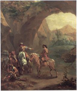 Zuidelijk landschap met halthoudende soldaten onder een rotsboog