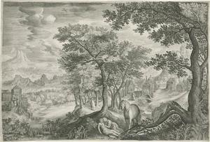 Landschap met de barmhartige Samaritaan (Lukas 10: 30-37)