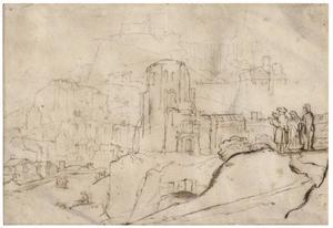 Landschap met een stad, rotsen en drie figuren