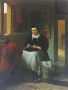 Vrouw bezig met naaiwerk in een interieur