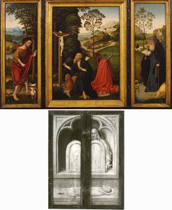De H. Johannes de Doper (binnenzijde links), Boetvaardige Hieronymus (midden), de H. Antonius Abt (binnenzijde rechts); dode man en Mozes met de Tafelen der Wet (buitenzijden)