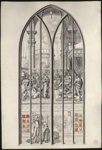 De koningin van Sheba bezoekt koning Salomo (naar raam/carton 5)