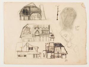 Schetsen van een gebouw en twee koppen van figuren