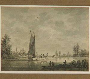 Schepen op de Maas; op de achtergrond IJsselmonde