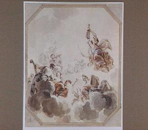 Apollo en Minerva en de Muzen, op de wolken