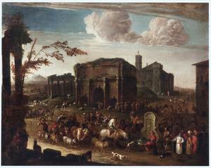 Zuidelijk landschap met met talrijke figuren bij Romeinse ruïnes (Campo Vaccino)