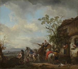 Rustende jagers bij een regenput