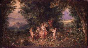 Allegorie van de aarde (een van de vier elementen): Ceres en de overvloedige oogst van de herfst in een boslandschap