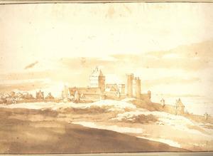 De Valkhofburcht en de oostelijke stadsmuur vanuit het oosten, vanaf de Hunnerberg