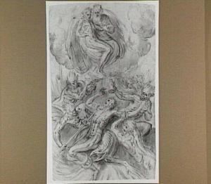 Door demonen gefolterde man, met daarboven God de vader en het lichaam van de gestorven Christus