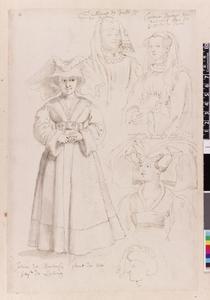 Studie van Yolande de Barbançon, Willem van Jauche en drie figuren
