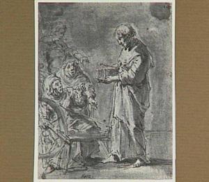 De kapelaan toont de lege muizenval aan de buurvrouwen (Lazarillo de Tormes dl. 1, cap. 9, p. 25)