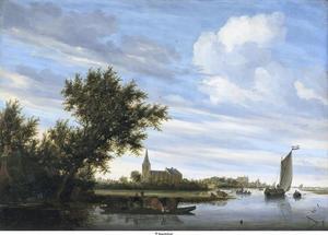 Riviergezicht met een kerk en een veerboot