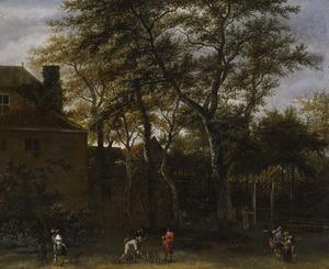 Landschap met kegelspelers, wandelaars en boeren in een tuin