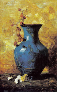 Blauwe Chinese cloisonné vaas