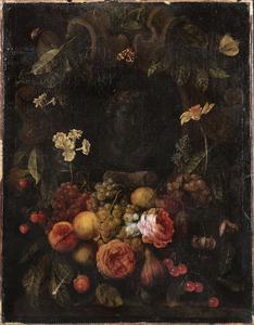 Vruchten- en bloemenfestoen rondom een cartouche