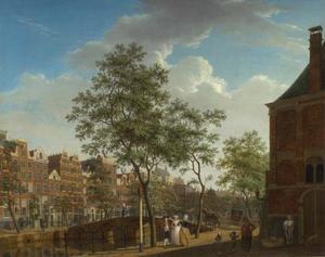 Gezicht op de Keizersgracht te Amsterdam vanaf de Westermarkt, geheel rechts de Westerhal