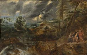 Stormachtig landschap met Philemon en Baucis