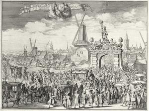 De intocht van stadhouder-koning Willem III bij de Westeinder brug in Den Haag, op 5 januari 1691
