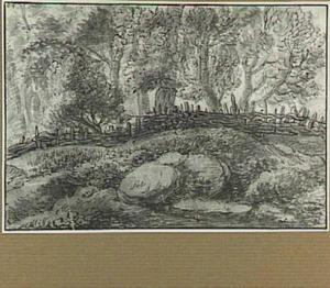 Boslandschap met een hek