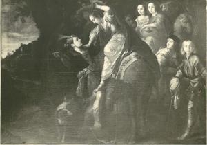 Isaak helpt  Rebekka bij het afstijgen van de kameel