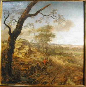 Landschap met over een hek klimmende man en twee honden op hazenjacht
