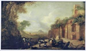 Zuidelijk landschap met het slangenkind Erichthonius gevonden door de dochters van Cecrops