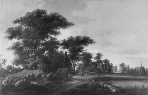 Landschap met een weg langs een dorp