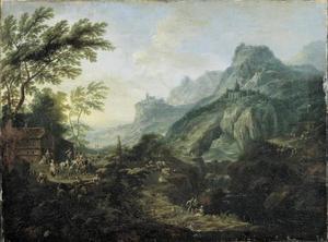Berglandschap met rotsboog