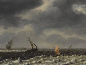 Zeegezicht met schepen in onrustig water, een regenboog in de verte